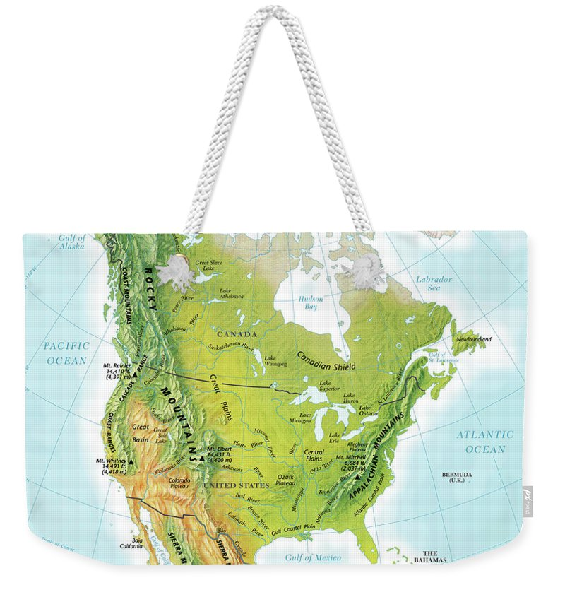 Compass Rose Weekender Tote Bag featuring the digital art North America Continent Map, Relief by Globe Turner, Llc