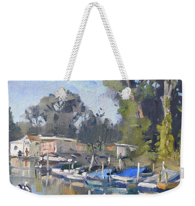North Tonawanda Weekender Tote Bag featuring the painting North Tonawanda Harbor by Ylli Haruni