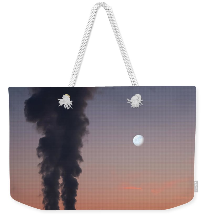 Air Pollution Weekender Tote Bag featuring the photograph Nuclear Power Station In Bavaria by Michael Kohaupt