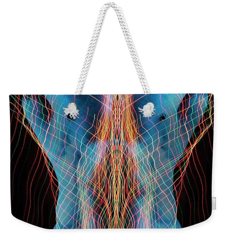 Torso Weekender Tote Bag featuring the photograph Nude Male Digital Composite by John Lund