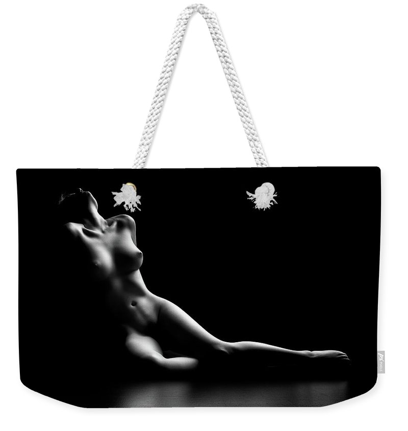 Woman Weekender Tote Bag featuring the photograph Nude woman bodyscape by Johan Swanepoel