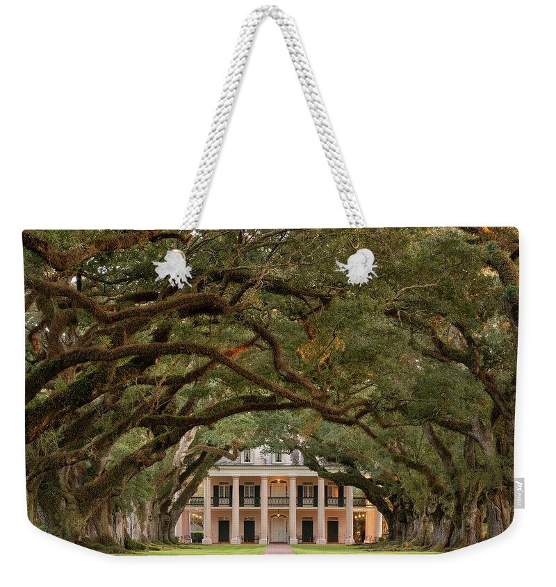Oak Weekender Tote Bag featuring the photograph Oak Alley Plantation by Martin Podt