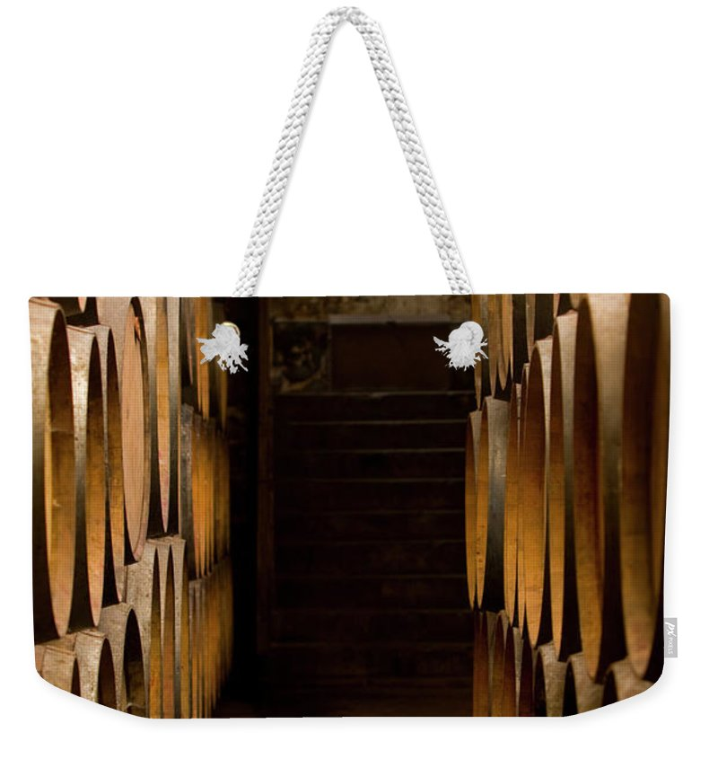 Alcohol Weekender Tote Bag featuring the photograph Oak Barrels At The Wine Cellar by Kycstudio