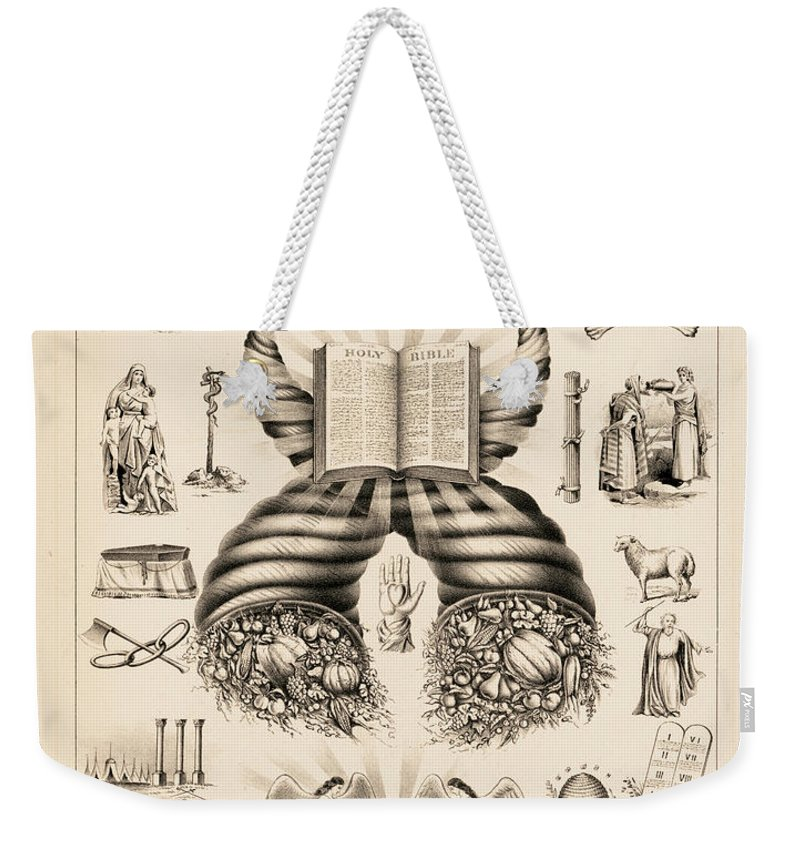 Odd-fellows Chart Weekender Tote Bag featuring the painting Odd-fellows Chart, 1877 by American School