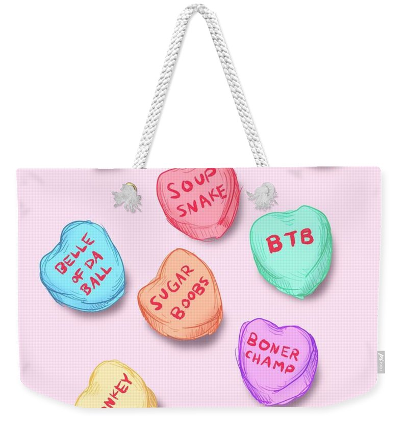 Hearts Weekender Tote Bag featuring the drawing Office Convo Hearts by Ludwig Van Bacon