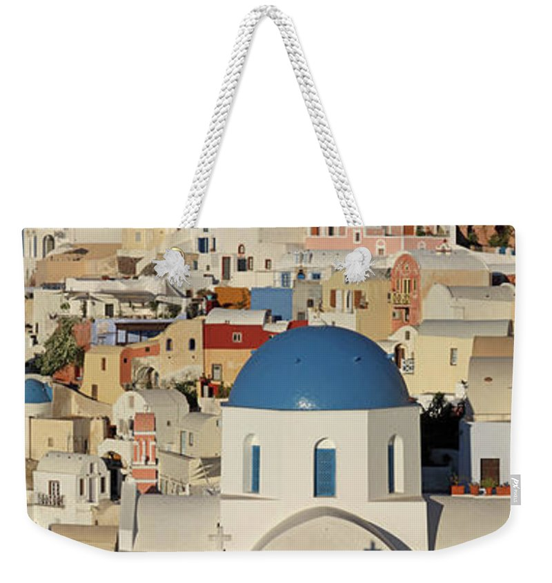 Tranquility Weekender Tote Bag featuring the photograph Oia Architecture by Sandra Kreuzinger