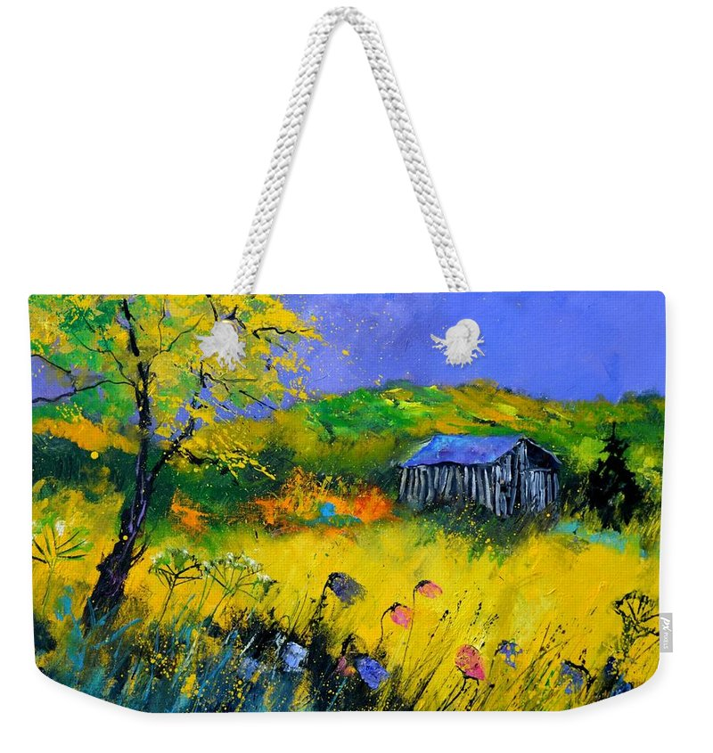 Landscape Weekender Tote Bag featuring the painting Old barn in summer by Pol Ledent
