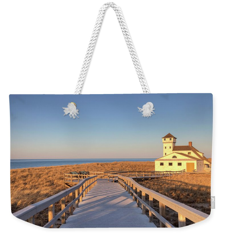 Water's Edge Weekender Tote Bag featuring the photograph Old Harbour Life Saving Museum, Race by Denistangneyjr