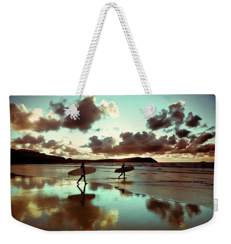 Water's Edge Weekender Tote Bag featuring the photograph Old Skool Surf by Landscapes, Seascapes, Jewellery & Action Photographer