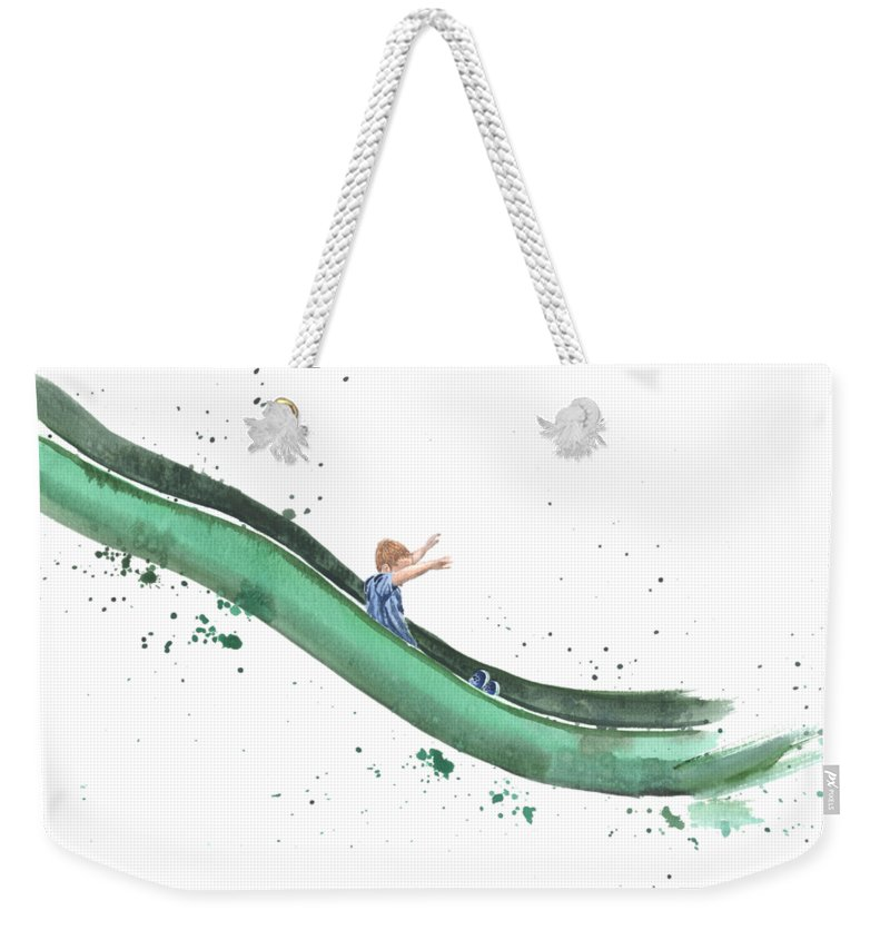 Slide Weekender Tote Bag featuring the painting On The Slide by Caroline Serafinas