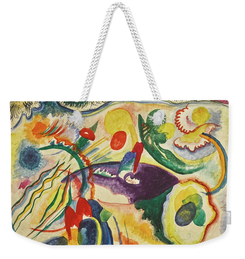 Kandinsky Theme Weekender Tote Bag featuring the painting On The Theme Of The Last Judgment - Zum Thema Jungstes Gericht by Wassily Kandinsky