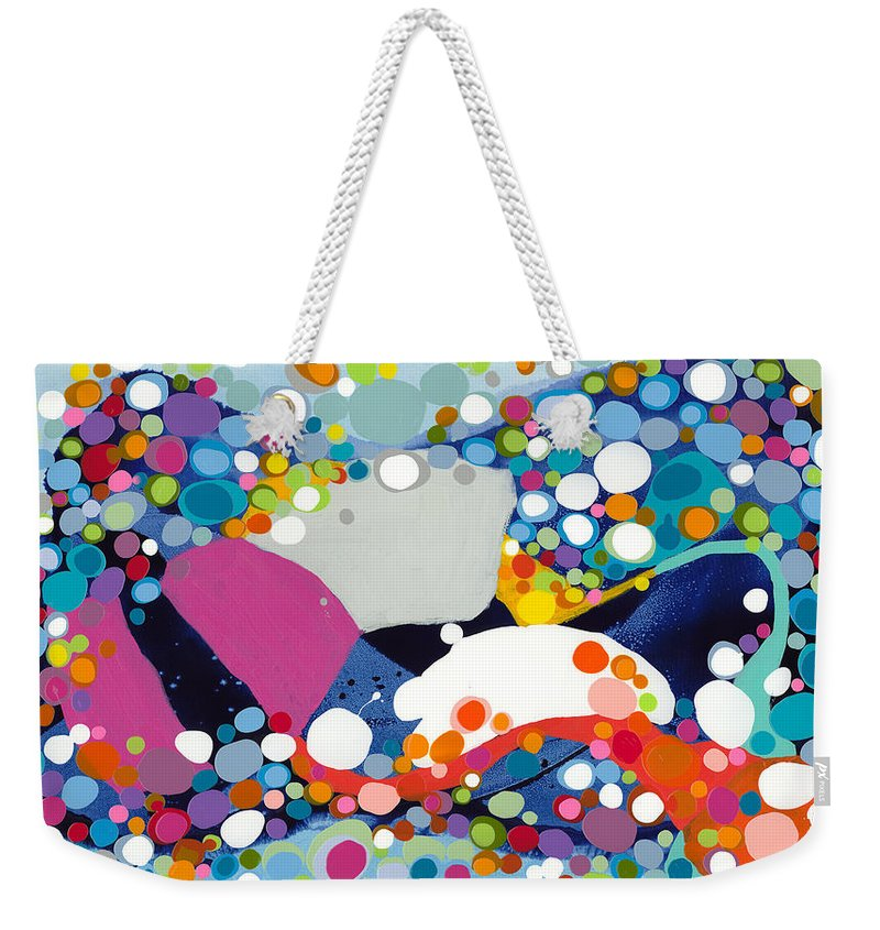 Abstract Weekender Tote Bag featuring the painting On The Up And Up by Claire Desjardins