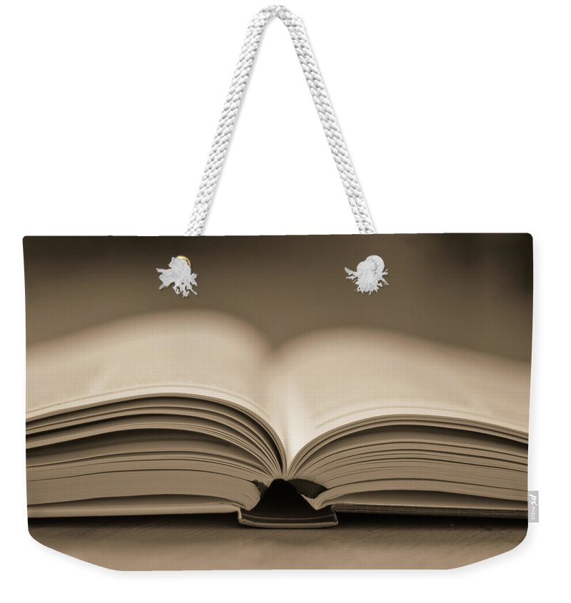 Education Weekender Tote Bag featuring the photograph Open Text Book by Simon Vogt