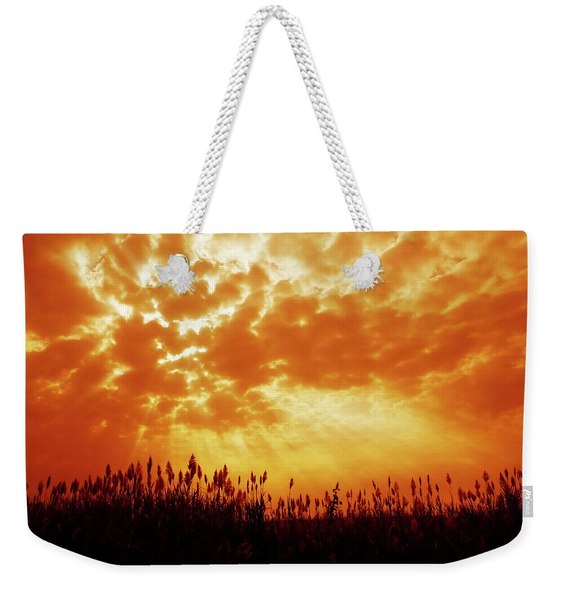 Orange Color Weekender Tote Bag featuring the photograph Orange Tinted Sky Illustrating by Tommyix
