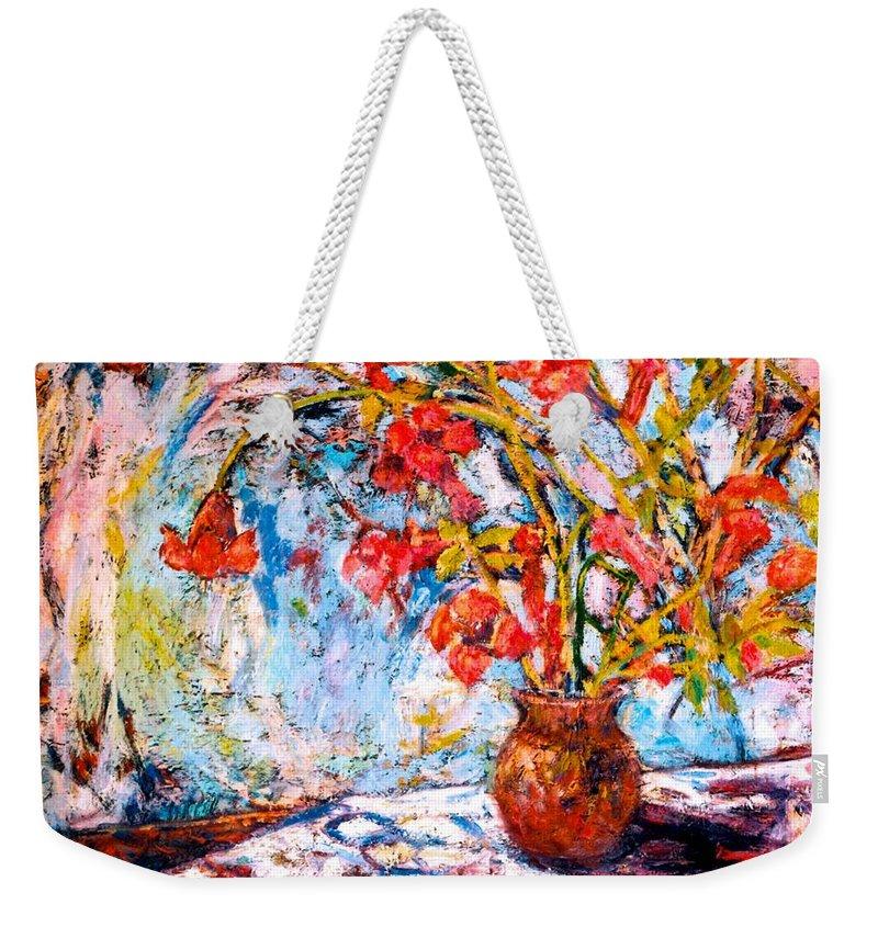 Trumpet Flowers Weekender Tote Bag featuring the painting Orange Trumpet Flowers by Kendall Kessler