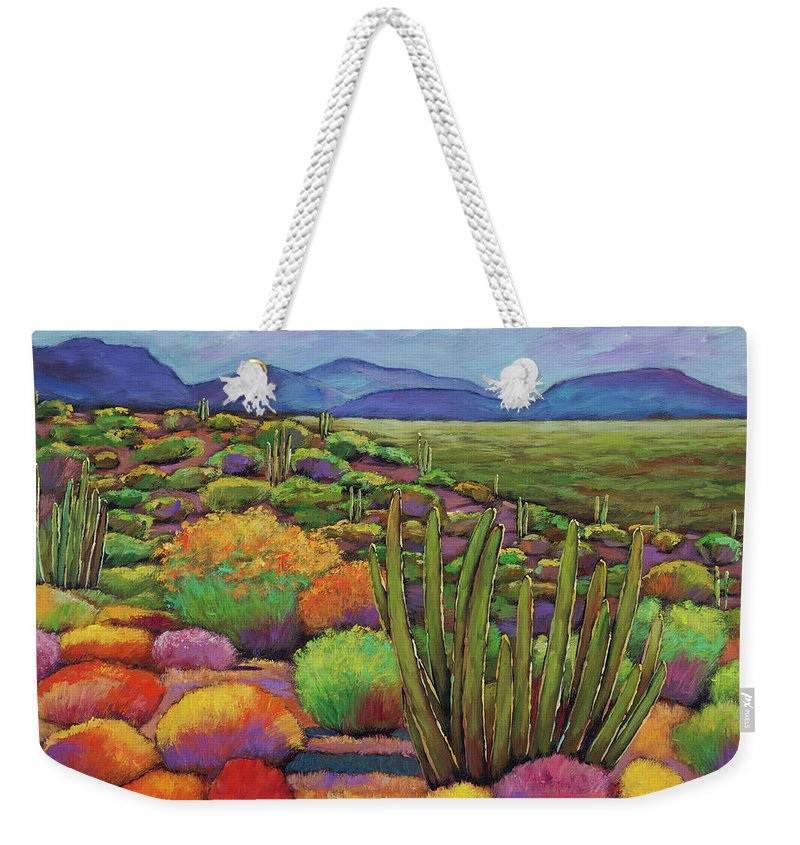 Desert Landscape Weekender Tote Bag featuring the painting Organ Pipe by Johnathan Harris