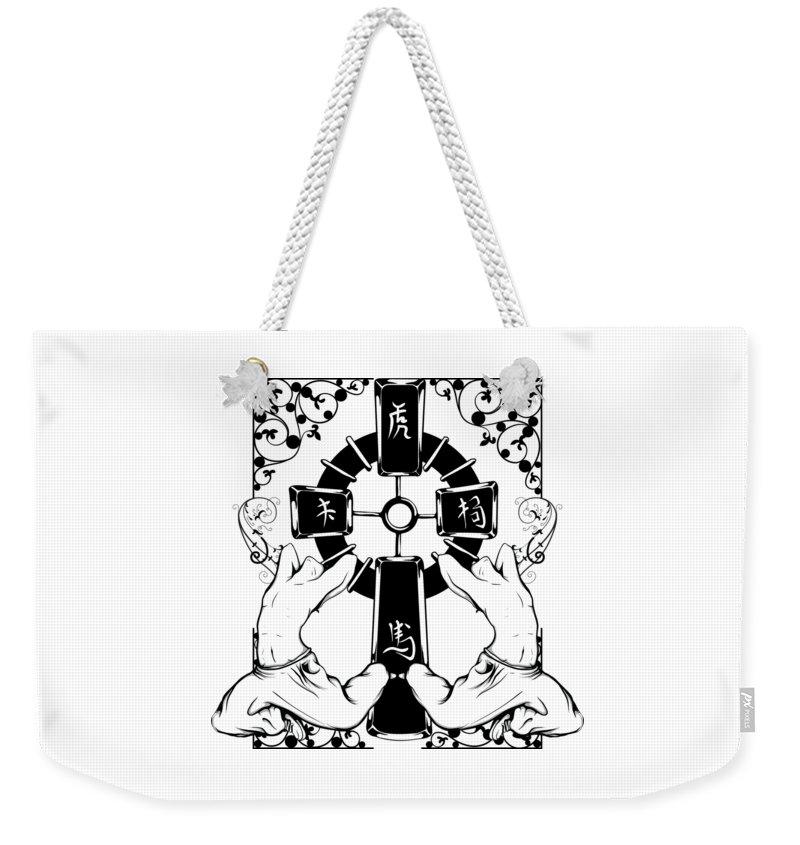 Japanese Weekender Tote Bag featuring the digital art Oriental Art by Passion Loft
