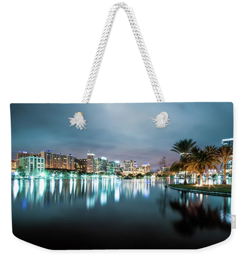 Outdoors Weekender Tote Bag featuring the photograph Orlando Night Cityscape by Sky Noir Photography By Bill Dickinson