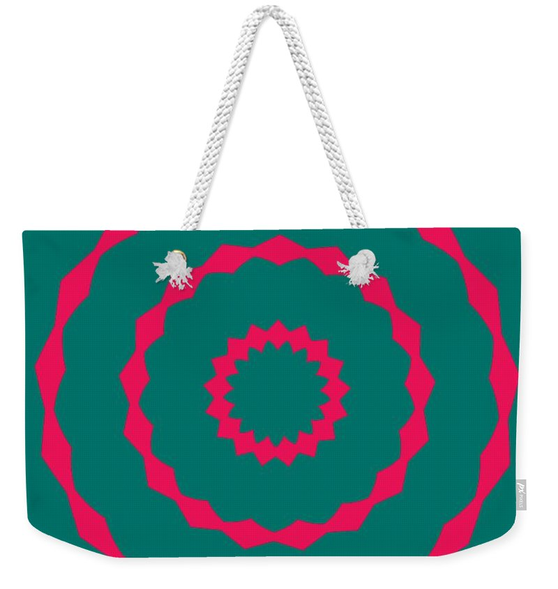 Round Weekender Tote Bag featuring the painting Ornament Number Five by Alex Caminker