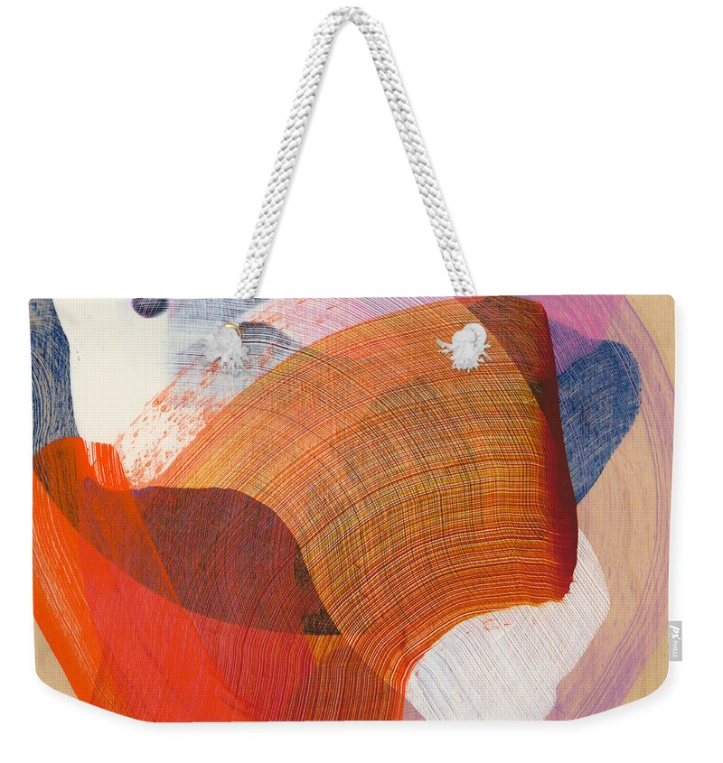 Abstract Weekender Tote Bag featuring the painting Out Of The Blue 01 by Claire Desjardins