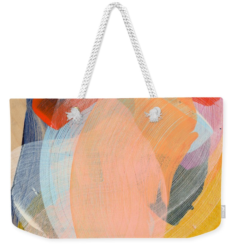 Abstract Weekender Tote Bag featuring the painting Out Of The Blue 02 by Claire Desjardins