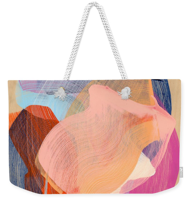 Abstract Weekender Tote Bag featuring the painting Out Of The Blue 03 by Claire Desjardins