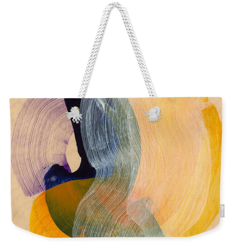Abstract Weekender Tote Bag featuring the painting Out Of The Blue 04 by Claire Desjardins