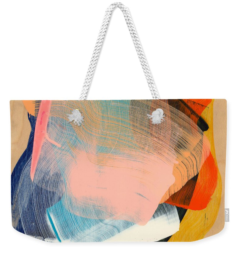 Abstract Weekender Tote Bag featuring the painting Out Of The Blue 06 by Claire Desjardins