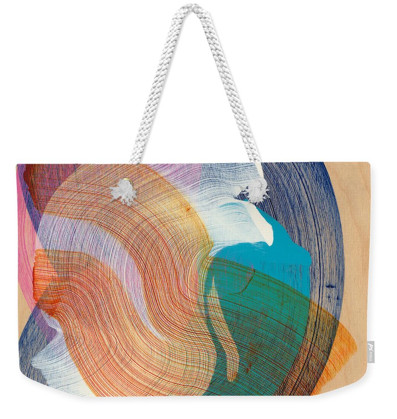 Abstract Weekender Tote Bag featuring the painting Out Of The Blue 07 by Claire Desjardins