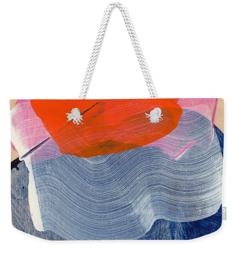 Abstract Weekender Tote Bag featuring the painting Out Of The Blue 08 by Claire Desjardins