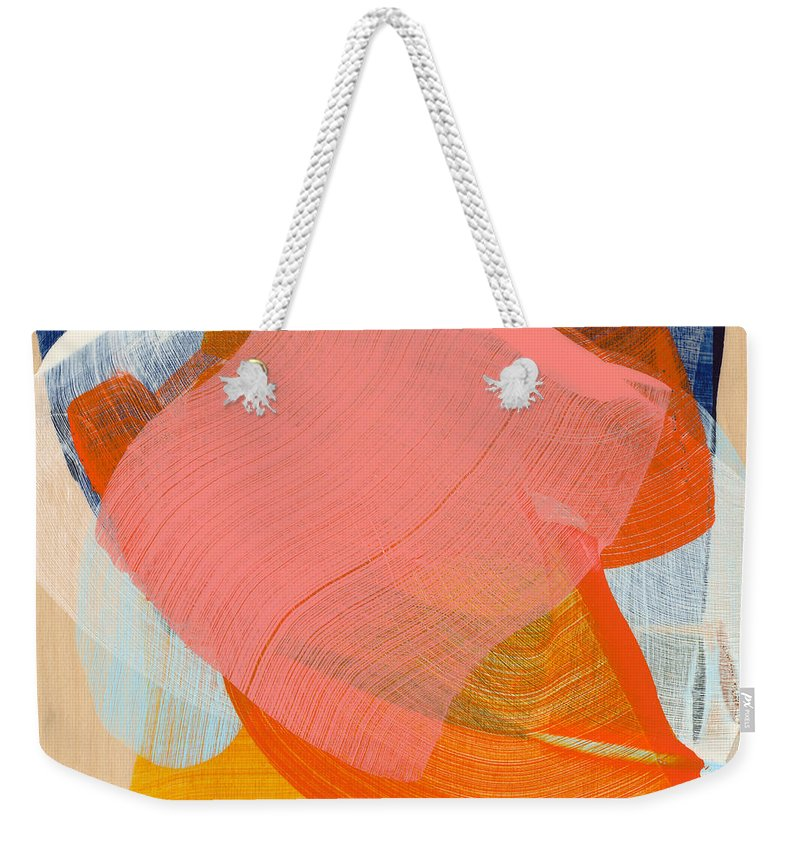 Abstract Weekender Tote Bag featuring the painting Out Of The Blue 10 by Claire Desjardins