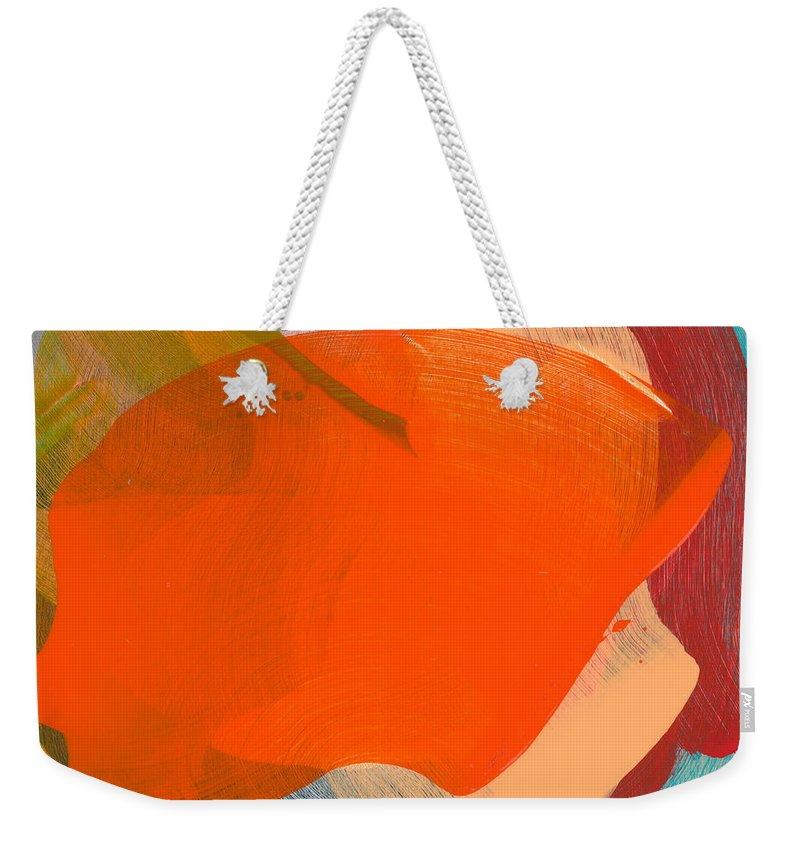 Abstract Weekender Tote Bag featuring the painting Out Of The Blue 11 by Claire Desjardins