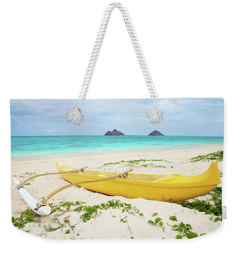 Scenics Weekender Tote Bag featuring the photograph Outrigger Canoe Lanikai Beach by M Swiet Productions