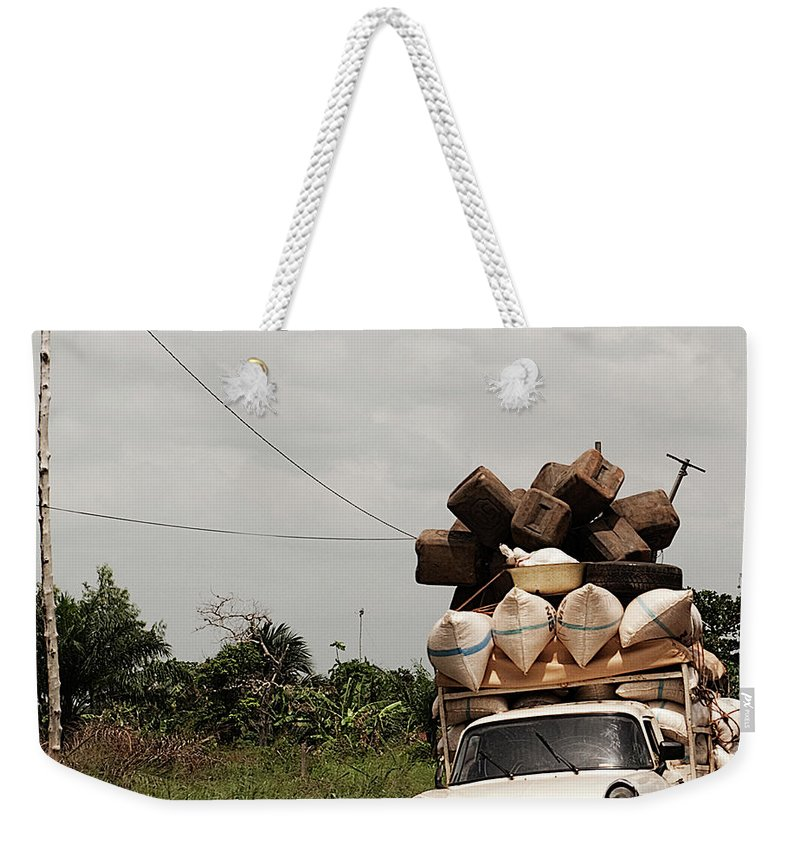 Transfer Print Weekender Tote Bag featuring the photograph Overloaded Car by Rodriguez Art Work