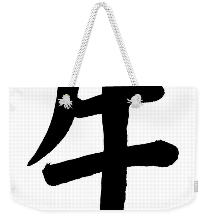 Chinese Culture Weekender Tote Bag featuring the photograph Ox In Chinese, Astrology Sign by Blackred