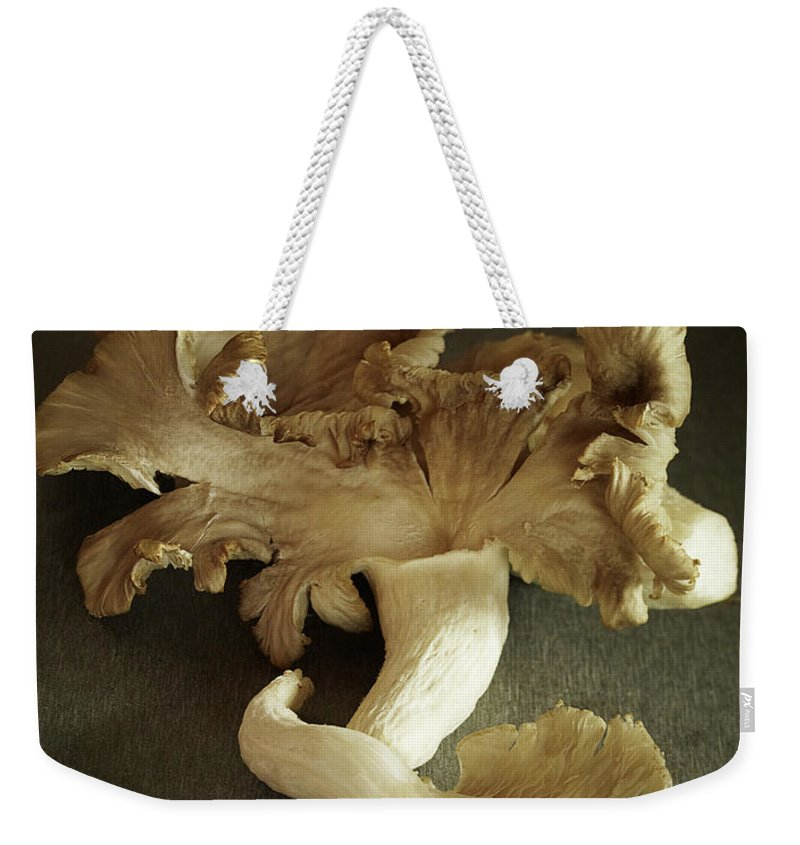 Edible Mushroom Weekender Tote Bag featuring the photograph Oyster Mushrooms Still Life by Carin Krasner