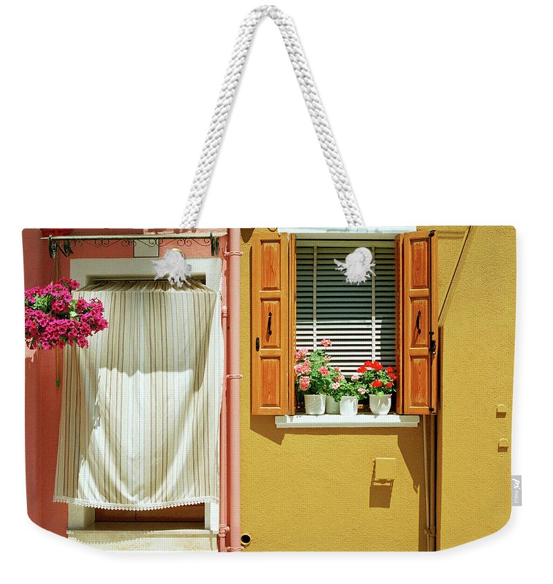 Hanging Weekender Tote Bag featuring the photograph Painted House In Burano by Terraxplorer
