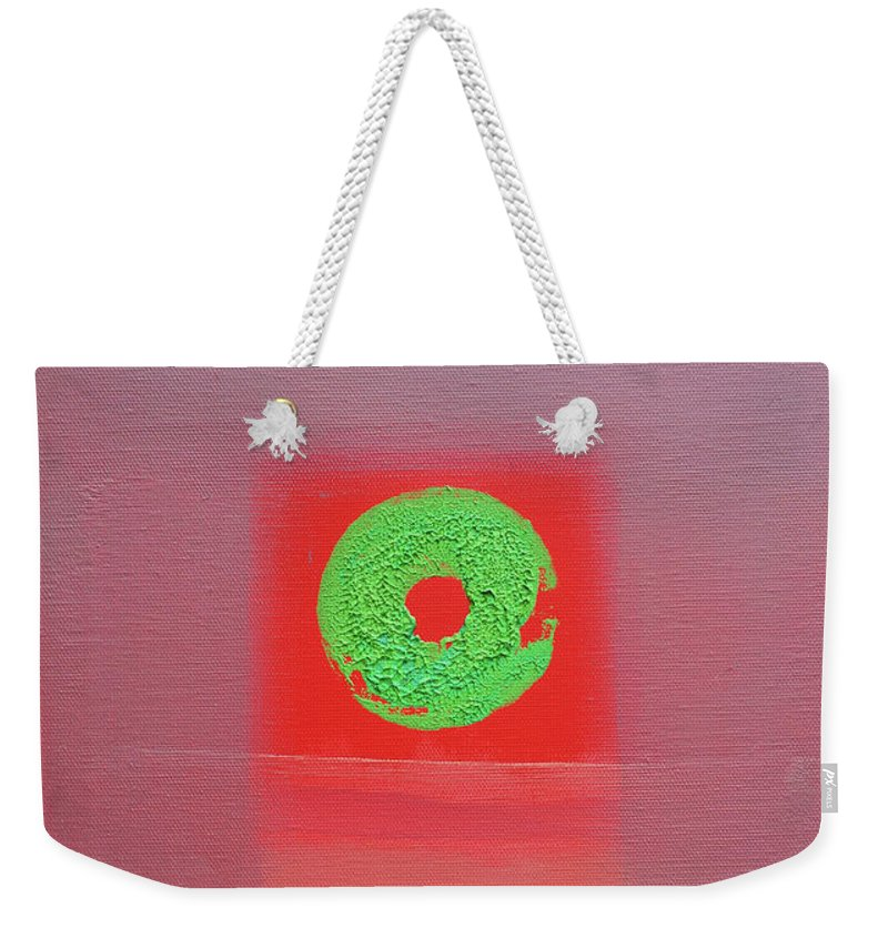 Red Weekender Tote Bag featuring the painting Painted Ocean by Charles Stuart