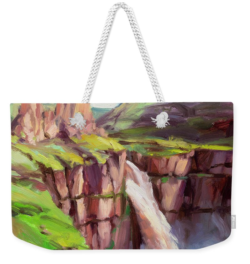 Waterfall Weekender Tote Bag featuring the painting Palouse Falls Rush by Steve Henderson