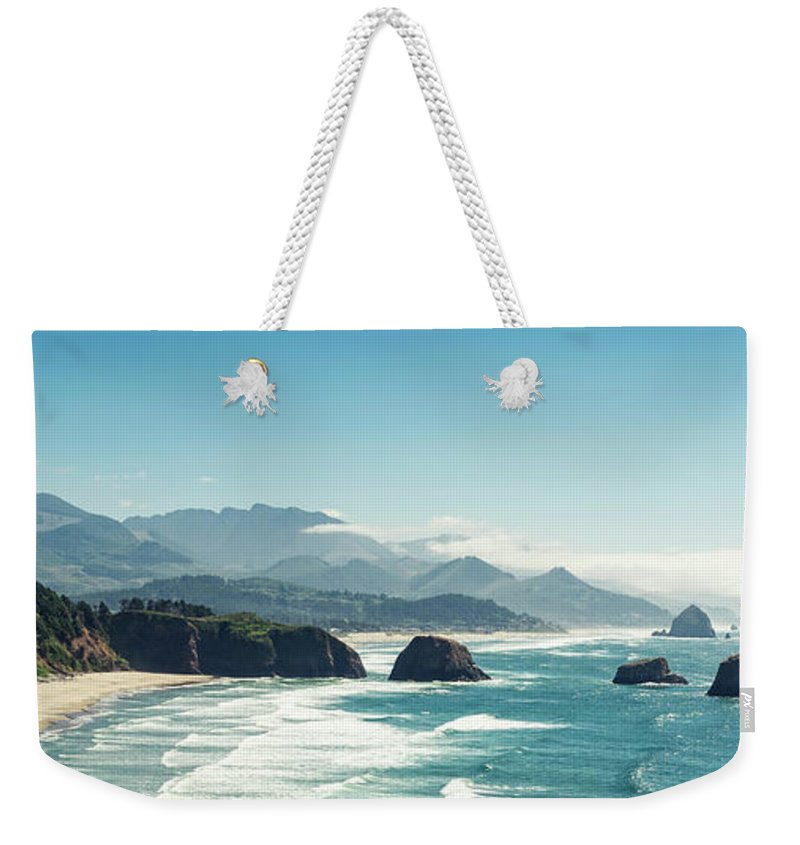 Scenics Weekender Tote Bag featuring the photograph Panoramic Shot Of Cannon Beach, Oregon by Kativ