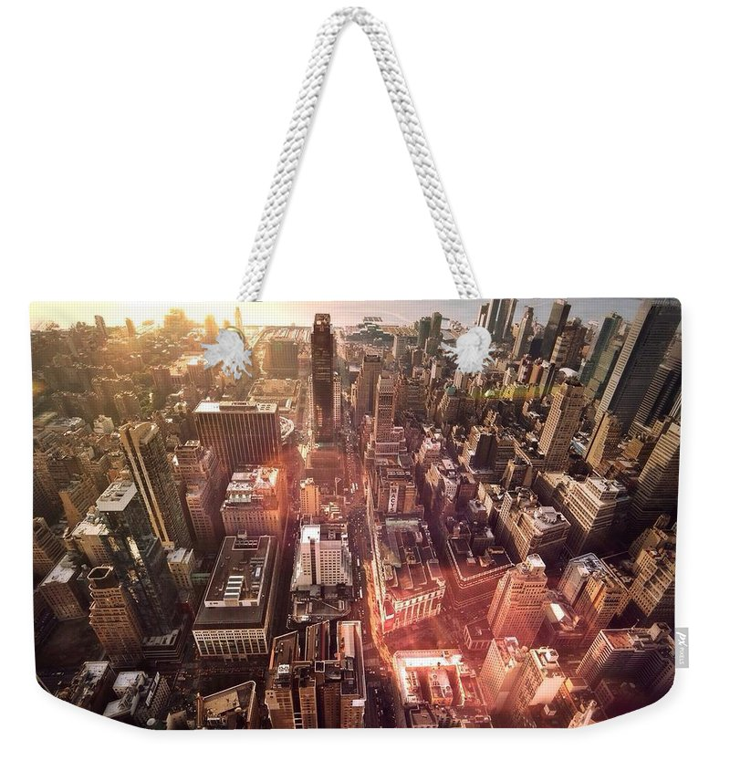 Trading Weekender Tote Bag featuring the photograph Panoramic View Of A Modern City by Ana Aguiar / Eyeem