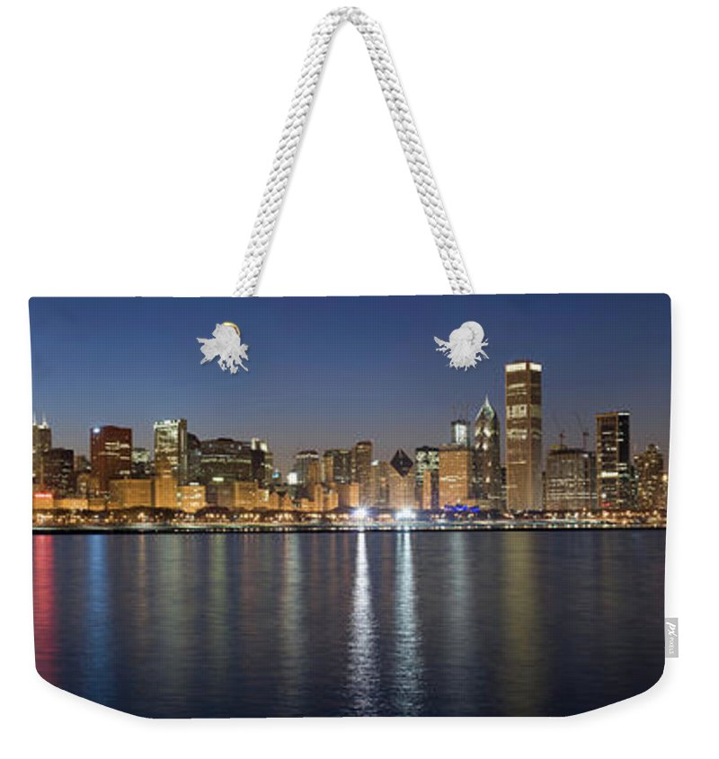 Water's Edge Weekender Tote Bag featuring the photograph Panoramic View Of The Chicago Skyline by Chrisp0