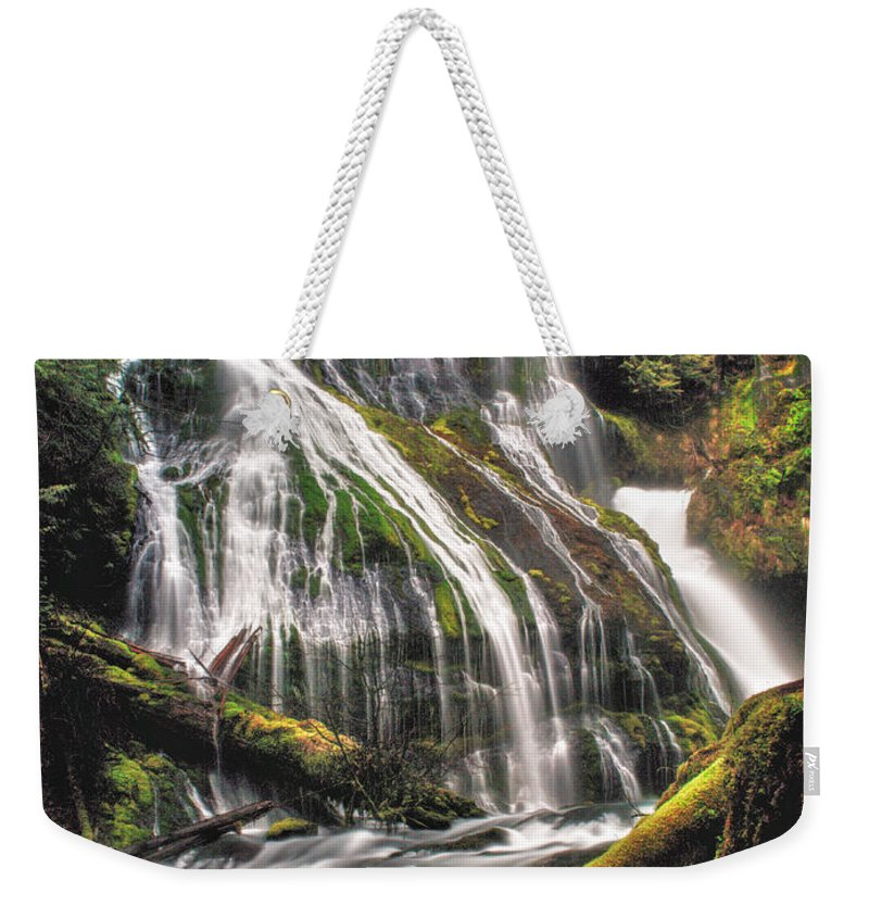 Waterfall Weekender Tote Bag featuring the photograph Panther Creek by Gene Graff
