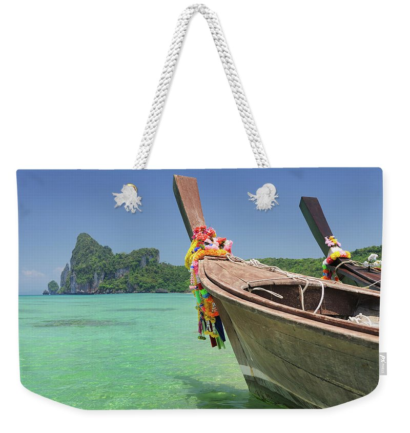 Tropical Rainforest Weekender Tote Bag featuring the photograph Paradise Tropical Beach With Longtail by 4fr