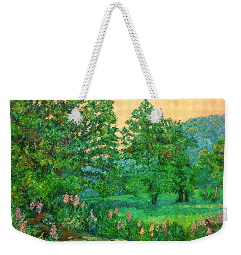 Landscape Weekender Tote Bag featuring the painting Park Road in Radford by Kendall Kessler