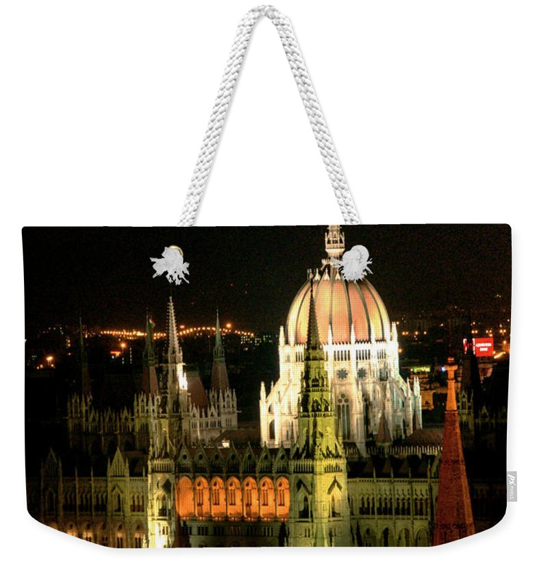 Hungarian Parliament Building Weekender Tote Bag featuring the photograph Parliament Building Lit Up At Night by Roberto Herrero Garcia