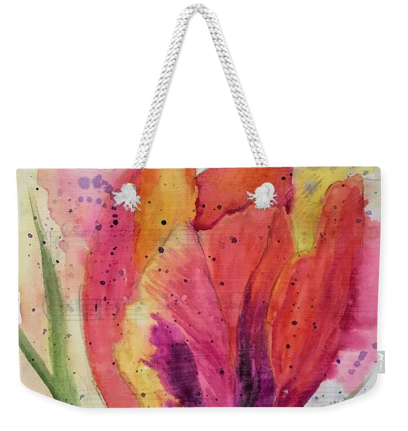 Watercolor Weekender Tote Bag featuring the painting Parrot Tulip 1 by Marcia Hero