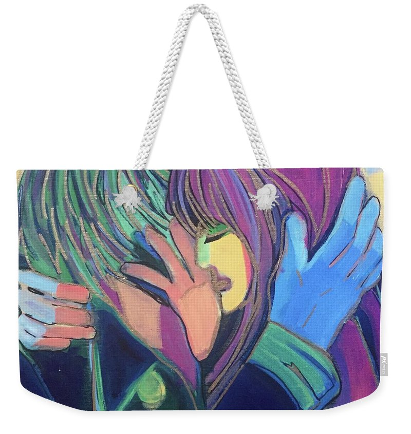 Modern Weekender Tote Bag featuring the painting Parting Ways by Cherylene Henderson