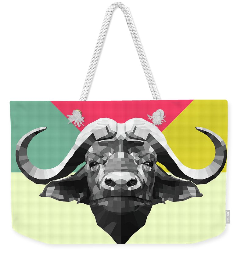 Buffalo Weekender Tote Bag featuring the digital art Party Buffalo by Naxart Studio