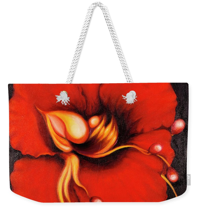 Red Surreal Bloom Artwork Weekender Tote Bag featuring the painting Passion Flower by Jordana Sands